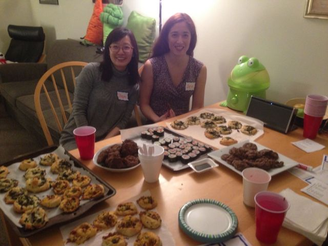 "Stephanie and Jen pinwheels (cheddar & bacon, spinach & mushrooms), sushi (spam & pineapple, crab meat & cucumber, salmon & cucumber), salted caramel turtle cookies ""This is my fifth time hosting Open Doors Night!"" ""We thought we were going to be lazy but ended up doing a lot!"""