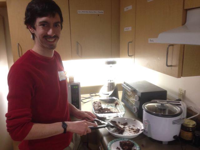 "Isaac (and Fabián): brownies, homemade whipped cream, empanadas ""Brownie?"" ""Sure!"""